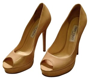 Jimmy Choo Platform Peep Toe Nude Pumps