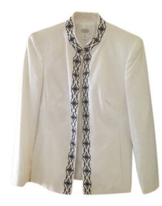 Talbots Structured Collarless White w/ Black Detail Blazer