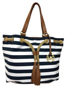 Michael Kors Gold Canvas Tote in Navy/White