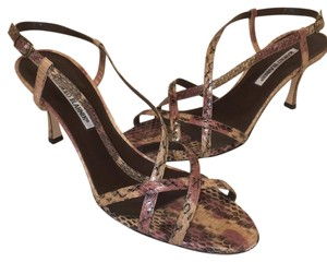 Manolo Blahnik Brown and Pink Sandals