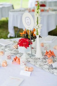 18 Couture Sliver Satin Rosette Table Runners