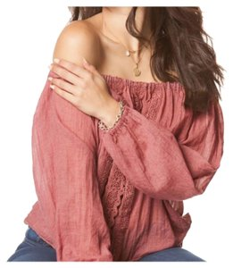 Other Bohemian Off Linen Tie Waist Long Sleeve Top Wine