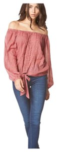 Bohemian Off Shoulder Linen Top Wine