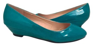 Ollio Modcloth Vintage Retro Low Heel Patent Leather green Flats
