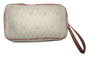 Dior Gold Hardware High-end Bohemian Mint Vintage 'honeycomb' cream/khaki leather and honeycomb print coated canvas Clutch