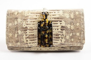 Bottega Veneta Beige Lizard Leather Folded Flap Brown Clutch