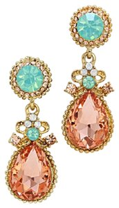 Other Peach Green White Opal Gold Crystal Teardrop Dangle Earring