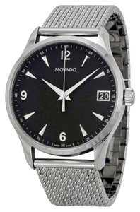 Movado ilver toe Mesh Stainless Steel with Black Dial Luxury Dress MENS Watch