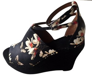 Givenchy Leather Espadrille Black Floral Platforms