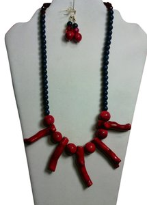 JC Creations artistic jewelry Coral and blue natural stone necklace and earrings set!