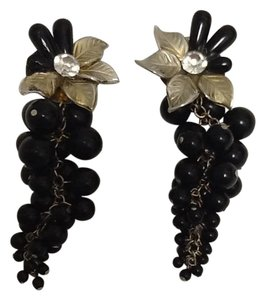 Black Grapes Long Earrings