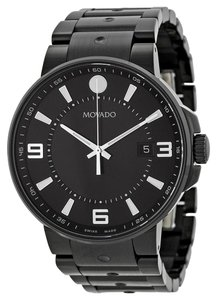 Movado Black PVD Stainless Steel Sport Casual Designer MENS Watch