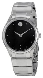 Movado Black Dial Silver Stainless Steel Designer Dress MENS Watch
