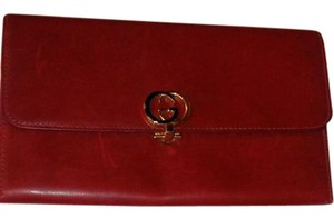 Gucci Large Red Leather Gucci Wallet
