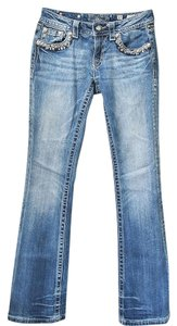 Miss Me Studded Size 27 Boot Cut Jeans-Medium Wash