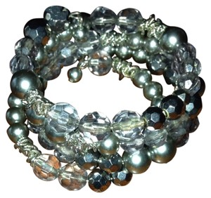 Ann Taylor LOFT Silver Color Beaded Bracelet