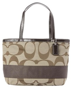 Coach Top Handle Signature Tote in Khaki