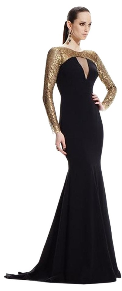 Theia Black Gold Metallic Sleeve Gown 882520 Long Formal Dress Size