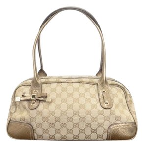 Gucci Tote in Beige Canvas/Gold Leather