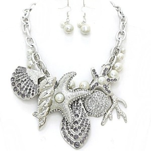 Nautical By The Sea Black Diamond Crystal Starfish Pearl Rhodium Bib Collar Necklace Earring Set