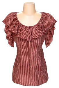 BCBGMAXAZRIA Silk Striped Top
