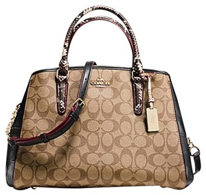 Coach Satchel in imitation goold/khaki black