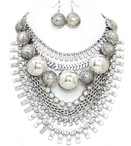 Other Russian Silver Crystal Dome Tribal Gypsy Collar Necklace Earring Set