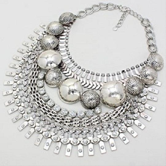 Other Russian Silver Crystal Dome Tribal Gypsy Collar Necklace Earring Set Image 1