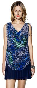 Vince Camuto Ombre Leopard Cowl Ruched Top Blue