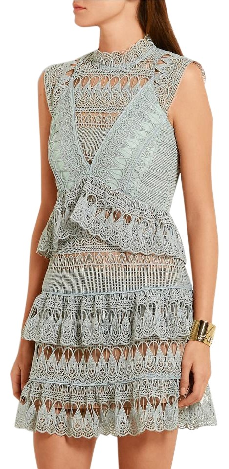 0ef6a2a42470 self-portrait Mint Green Tiered Guipure Lace Short Night Out Dress ...