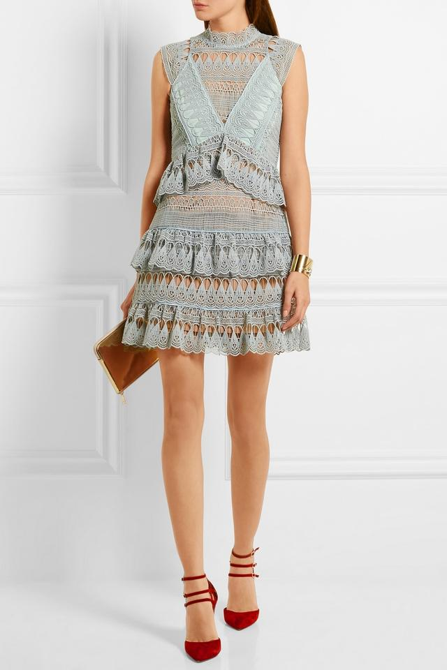 cdd40fc8a373 self-portrait Mint Green Tiered Guipure Lace Short Night Out Dress Size 6  (S) - Tradesy