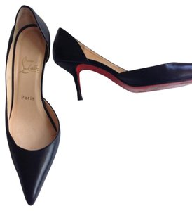 Christian Louboutin Sole Kidskin Leather Black Red Pumps