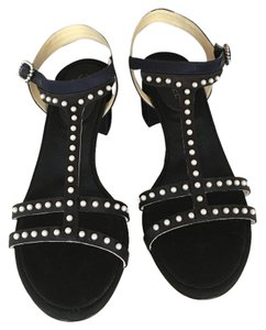 Chanel Pump Black Navy Sandals