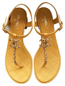 Chanel Chain Quilted Flats Size 39 yellow Sandals