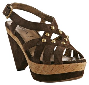 Prada Platform Wedge Studded Sandal Brown Wedges