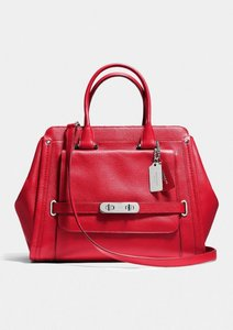 Coach Swagger Frame Leather Satchel in Red