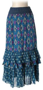 Free People Silk Print Maxi Skirt
