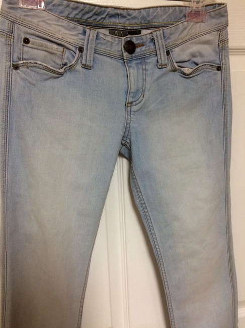 A|X Armani Exchange Stone Wash /Bootcut Women's Straight Leg Jeans-Light Wash