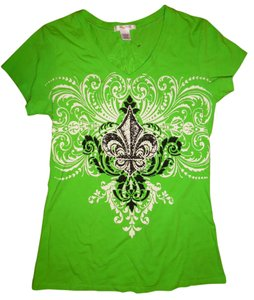 Love to Love Sparkly Printed Stretchy T Shirt Bright Lime Green, Black, White