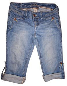 American Rag Rolled Up Stretchy Distressed Capri/Cropped Denim-Distressed