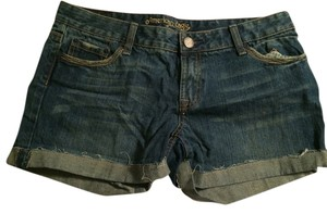 American Eagle Outfitters Cuffed Shorts Dark Blue Jeans