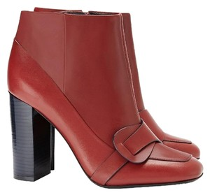 Tory Burch Leather Bootie Boot Chunky Red Cherry Wood Boots