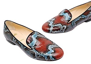 Christian Louboutin Red, Blue, Black Snakeskin Flats