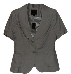 The Limited Short Sleeve Pleated Pockets Light Grey Blazer