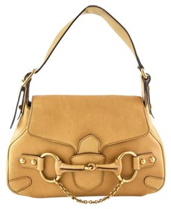 Gucci Horsebit Cross-over Flap Strap Satchel in Tan
