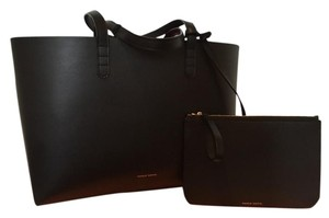 Mansur Gavriel Leather Italian Tanned Leather Flamma Tote in Black