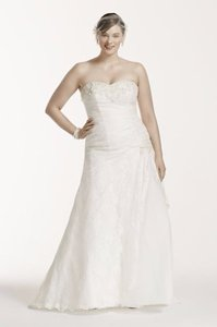 David's Bridal Lace A-line Side Split Plus Size Wedding Dress Wedding Dress