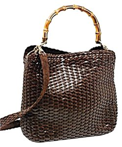 Gucci Woven Bamboo Handle Tote in Brown