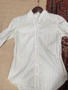 J.Crew Comfortable Button Down Shirt white with green pin stripes