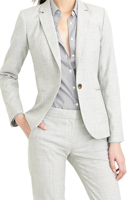 Item - Heather Grey/Khaki One-button Jacket In Super 120s Wool Pant Suit Size 6 (S)